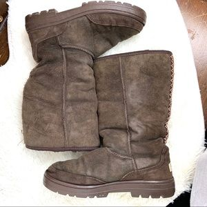 UGG Ultra Tall Womens Boots Brown Aztec Size 9